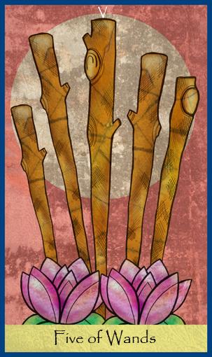Sauvojen 5 - Five of Wands - Rajatieto - Tajunnanvirta